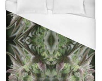 Leaf Duvet Cover, Bohemian Duvet Cover Fuchsia Trainwreck Cannabis Print,Duvet Cover Floral, Leaf Bedding,Hippy Decor, Duvet Cover Full