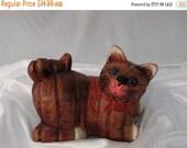 SALE Wood Cat Figurine, Carved Wooden Cat Figurine, Vintage Wood Kitten Figurine