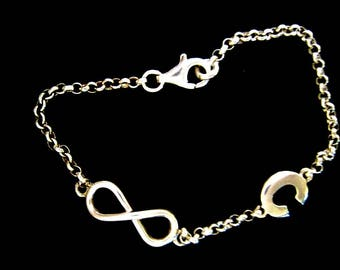 Silver bracelet with initial and infinity