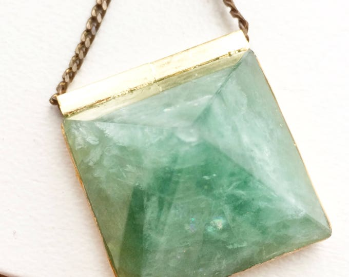 Green Fluorite Pyramid Statement Necklace