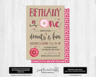 Girls Donut Birthday Party Invitation Doughnut Kraft Paper Invites Pink Printable Digital File or Printed Invitations First Birthday