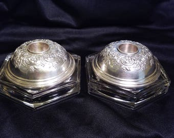 Two Mid Century Marked Sterling Silver 904 Weighted Candle Holders with Flower and Leaf Design on Glass Base