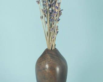 Hollow twig vase of Claro (Figured) Walnut