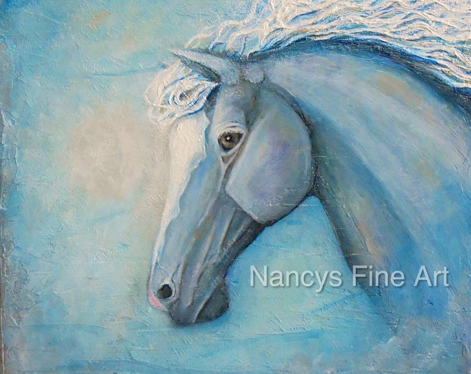 Original horse painting, Blue modern horse art on canvas, textured equestrian artwork, original painting by Nancy Quiaoit