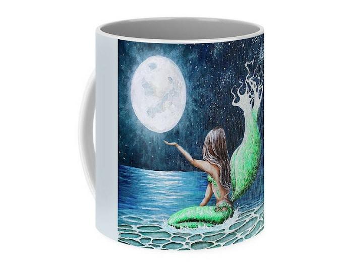 Mermaid moon art mug, ermaid coffee mug, unique mermaid cup, original painting by Nancy Quiaoit