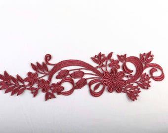 1 of 26 cm X 7 cm red bordeaux Venice guipure lace applique