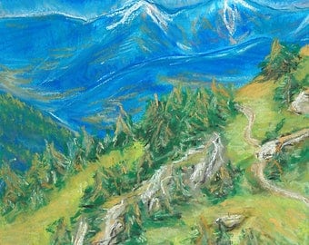 Mountain Landscape Pastel Drawing Artwork