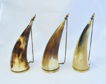 Set of 3 Vintage Horn, Viking Drinking Horn, Georgian traditional, collectibles wine horn, game of thrones, medieval decor, Men's cave decor