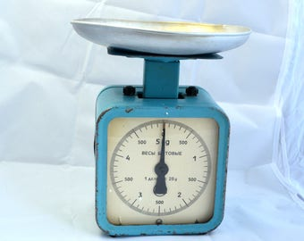 Vintage Kitchen Scale, Mid Century Balance, Antique Scale, Rustic Display Stand, Rustic Kitchen Decor,