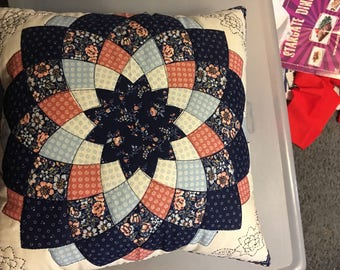 Quilted and embroidered flower pillow