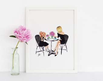Mother & Daughter Brunch (Fashion Illustration Print)