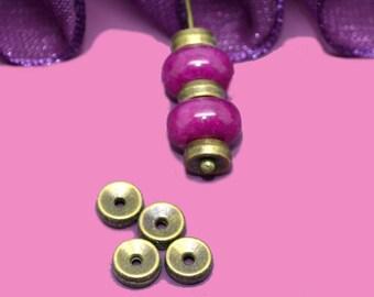 20 round beads spacer 05x02mm bronze