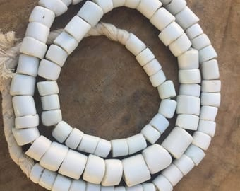 Bohemian antique large white kumba bead size Africa trade beads