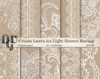 40% Lace on Burlap Digital Paper: Cream Lace on Light Brown Burlap for Wedding Invitation, Rustic Wedding Decor, Burlap Wedding Decorations