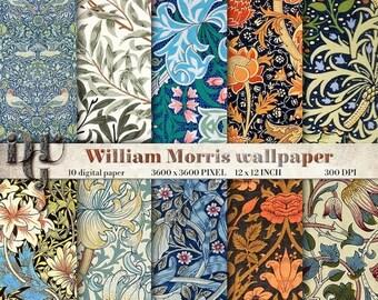40% Digital Decoupage Paper WILLIAM MORRIS DECO Digital Paper Pack Art Nouveau 1920's Great Gatsby Patterns  printable paper downloads Des.