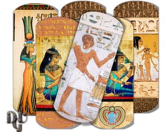 ANTIQUE EGYPT Bookmarks Digital Collage - Egyptian painted Printable Book Mark Hieroglyphics Instant Download   Printable Bookmarks S_008