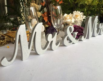 Wedding Reception Silver Glitter Sign MR and MRS , Wedding Decoration, Wedding Signs,