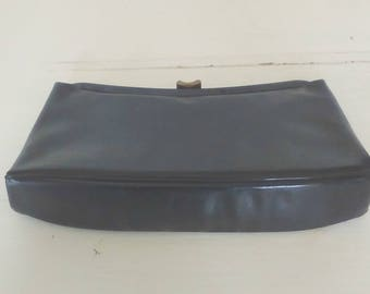 Black Pleather Clutch/Vintage Evening Handbag/1960s Pocketbook/Snap Clasp/Shell Shaped/Good Condition/Phone Case/lindafrenchgallery