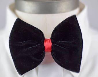 Black & Red Velvet Bow Tie