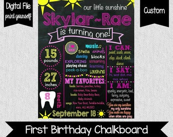 Our Little Sunshine Birthday Chalkboard - Sunshine First Birthday Chalkboard - About Me Poster - Digital File - You Are My Sunshine