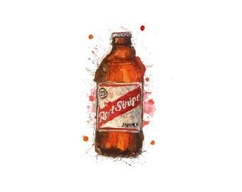 redstripe, jamaica, a3 print, jamaica beer, red stripe, caribbean, beer poster, lager poster, jamaica artwork, beer painting, beer bottle