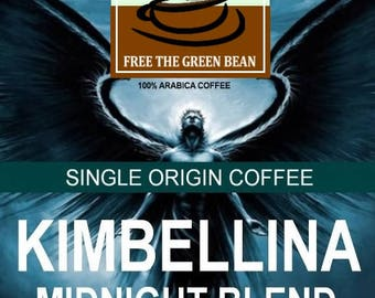 Kimbellina Midnight Blend Dark Roast. Whole bean and freshly roasted. A delightful and dark Colombian variation with very low acidity.