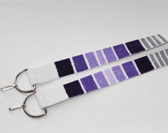 Purple and silver gradient hand painted camera strap