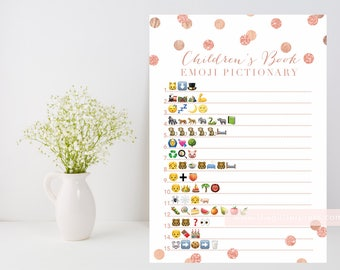 book emoji pictionary printable rose gold confetti baby shower