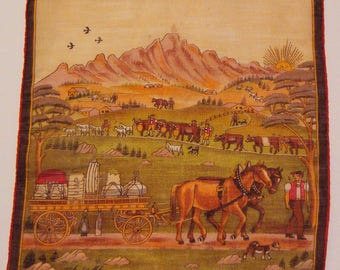 Vintage Stoffels Hankie with Horses Pulling a Cart
