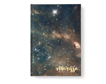 Universe Stars Personalized Journal, Modern Galaxy Pattern, Personalized Journals for Women, Gift jn0007