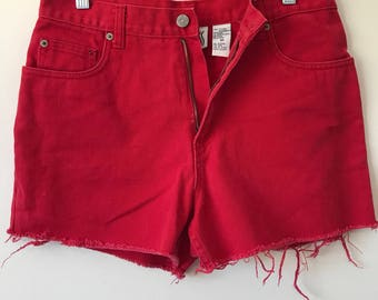 90s Vintage Bill Blass Red Denim Cutoff Shorts