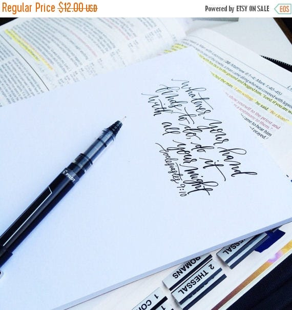 ON SALE Back to school notepad, Christian school, hand lettered stationery, Ecclesiastes 9 10, scripture gift
