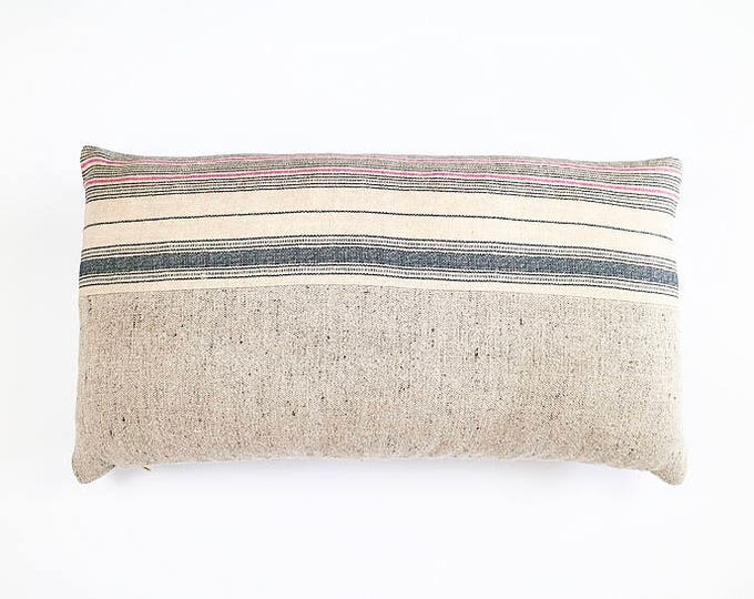 READY TO SHIP Indigo And Pink Stripe Belgian Linen Lumbar Pillow Cover 14x24