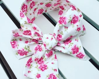 Girl's Headwrap Big Bow Cotton Headband in Vintage style pink rose floral fabric with a white background