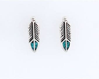 Sterling Silver Turquoise Feather Post or Stud Earrings
