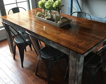 Rustic Distressed Cedar Top Farmhouse Table