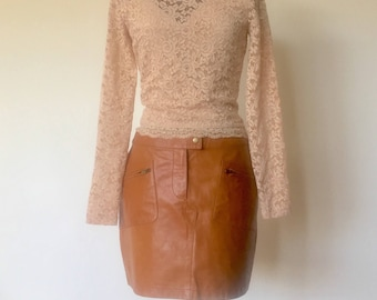 80s Brown Leather Mini Skirt Size M by Cheyenne