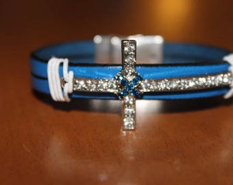 blue leather with cross rhinestone magnetic clasp bracelet