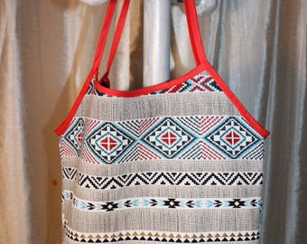 Ethnic Mexican Red flowered pattern cotton canvas tote bag