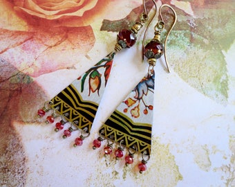 Recycled Tin Earrings, Tin, Earrings, Vintage tin, Floral tin, Upcycled tin, Reclaimed tin, Latin earrings, Beaded, Boho, Gypsy, Rustic