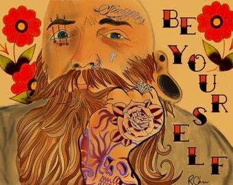 "Be Yourself , 12"" x 16"" tattoo art print"