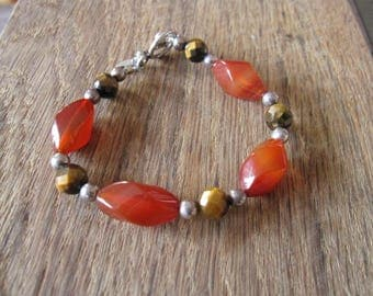 """Sterling Silver Red Carnelian And Tigers Eye Beaded Toggle Bracelet 7.5"""" (1668)"""