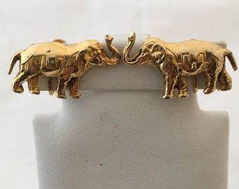 YSL Yves Saint Laurent Elephant Vintage Designer Earrings Signed YSL Safari Animal