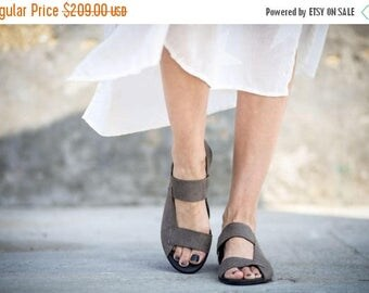 SALE New! Strappy Sandals, Grey Sandals, Leather Sandals, Grey Slingbacks, Summer Shoes, Summer Flats, Slip On Sandals, Rocco