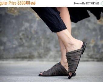 SALE Strappy Sandals, Grey Leather Sandals, Summer Shoes, Grey Flats, Slide Sandals, Handmade Sandals, Sophie