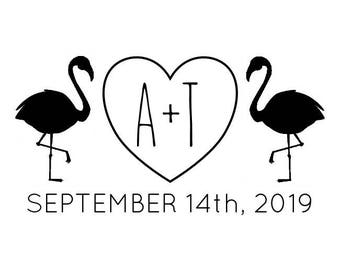 """Flamingos Wedding Stamp, custom initials and date stamp, love birds stamp, love heart initials, wedding favours stamp, 2""""x1.1"""" (cts196)"""