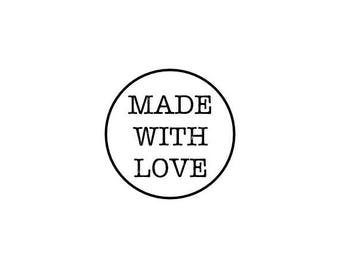 "Made With Love Text Stamp, mini rubber stamp, envelope packaging stamp, business stationary stamp, made with love, 0.75"" x 0.75"" (minis69)"