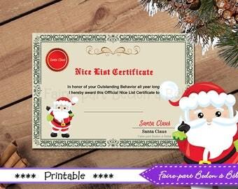 Santa Claus certificate -  Nice list certificate - Printable certificate - Santa Claus  - Instant Download