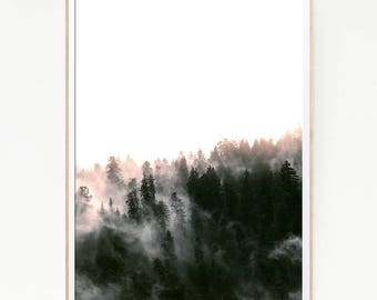 Pine Trees Print Poster Forest Wall Decor Nordic Art Scandinavian Monochrome Nature Wilderness Minimalist Snow Mountain Green Wild 1056