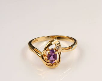 Purple Gold Ring - Gold Tear Drop Ring - Size 9.5 Ring For Her